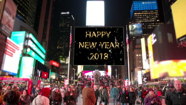 happy holidays new year new york times square people billboards - happy holidays stock videos & royalty-free footage