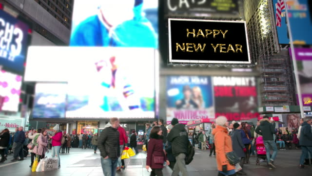 happy holidays new year nyc times square 2018 people billboards - happy holidays stock videos & royalty-free footage