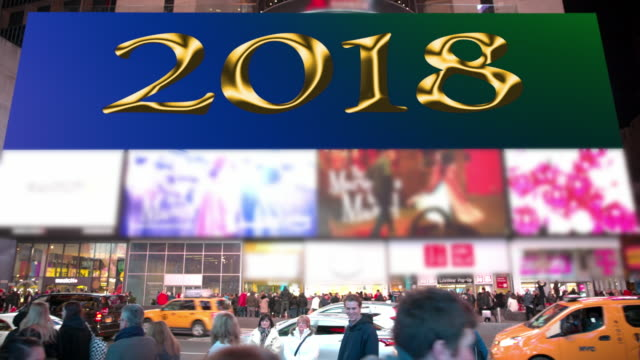 happy holidays new year times square 2018 billboards nyc - happy holidays stock videos & royalty-free footage