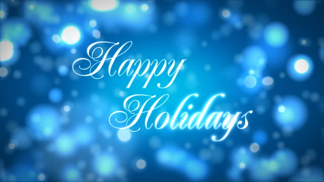 stockvideo's en b-roll-footage met happy holidays on blue - tekst
