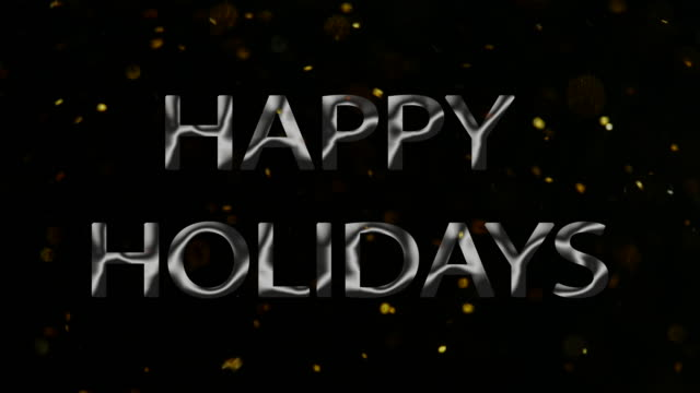 happy holidays sign celebration glitter snow black background - happy holidays stock videos & royalty-free footage