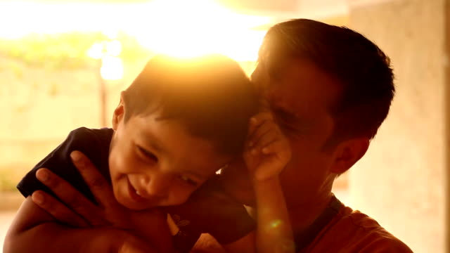happy indian child playing with his father - indian culture stock videos & royalty-free footage