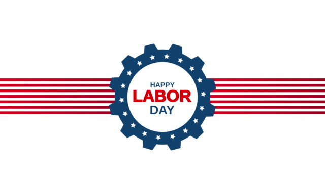 vídeos de stock e filmes b-roll de happy labor day on white background. 4k animation - dia do trabalhador