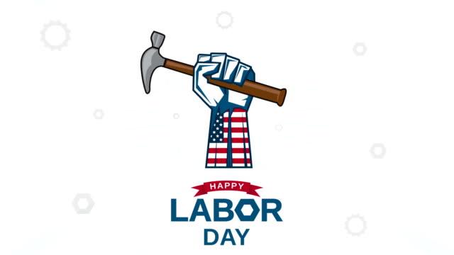 vídeos de stock e filmes b-roll de happy labor day with hand holding hammer. 4k animation - dia do trabalhador