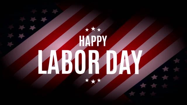 vídeos de stock e filmes b-roll de happy labor day with usa flag. 4k animation - dia do trabalhador