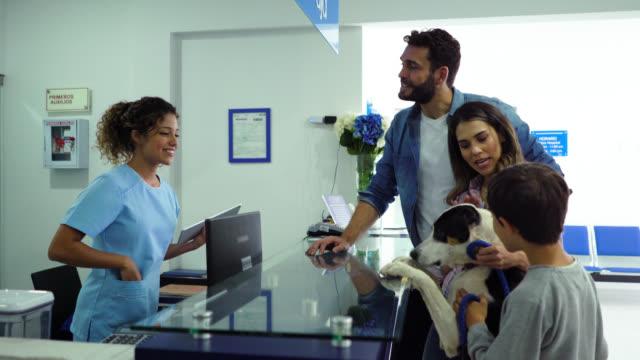 幸せなラテンアメリカの家族は、犬に御馳走を与える獣医とフレンドリーな受付に自分の犬を取ります - 受付係点の映像素材/bロール