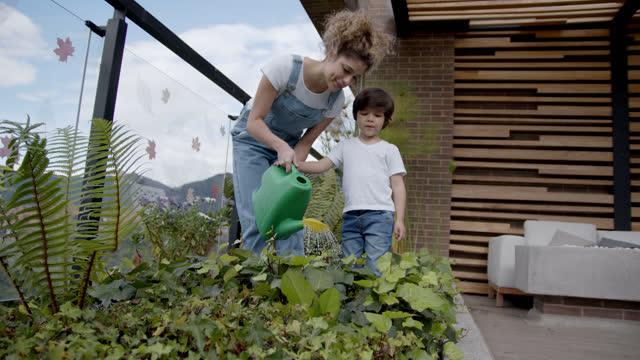 vídeos de stock, filmes e b-roll de feliz mãe latino-americana ensinando seu filho como regar as plantas em seu jardim de casa - flora