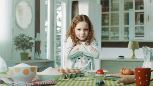 happy little chef smiling at camera - batter food stock videos & royalty-free footage