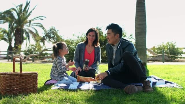 vídeos y material grabado en eventos de stock de niña feliz comiendo en picnic familiar - cesta de picnic