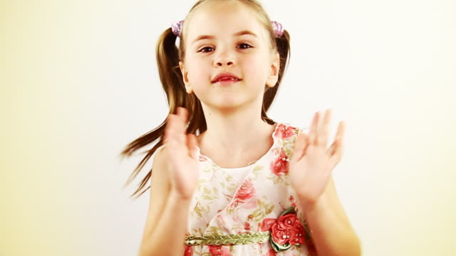Happy little girl jumping - HD, NTSC