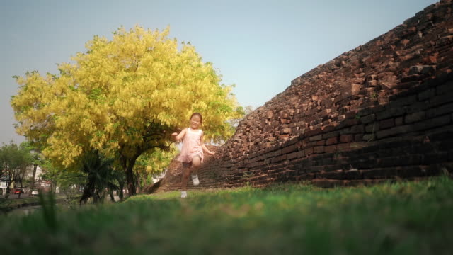 slo mo happy little girl running with beautiful golden shower tree in background - bunch stock videos & royalty-free footage