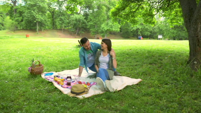 vídeos de stock e filmes b-roll de happy man surprising his girlfriend on picnic in the park. - picnic