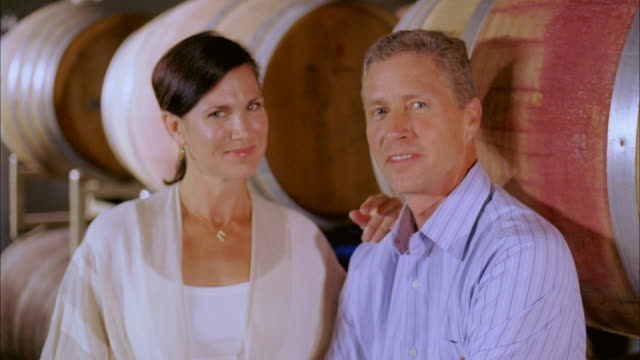 cu, happy mature couple in wine cellar, portrait, marlboro, new york state, usa - marlboro new york stock videos and b-roll footage
