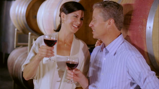 cu, happy mature couple tasting wine in cellar, marlboro, new york state, usa - marlboro new york stock videos and b-roll footage