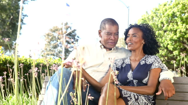happy mature couple - bench stock videos & royalty-free footage