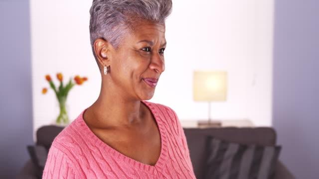 happy mature woman - camicetta video stock e b–roll