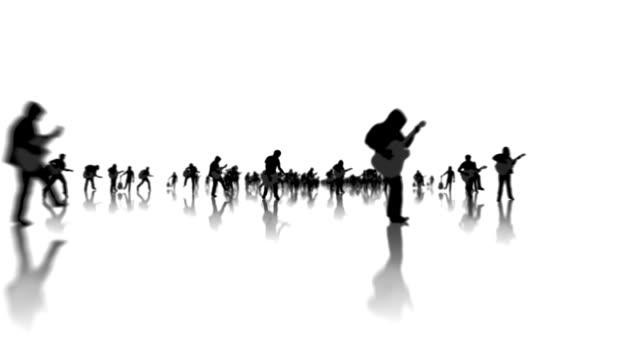 Glücklicher Mann Silhouetten mit Gitarre