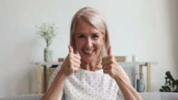 Happy middle aged woman talking to camera sit on sofa