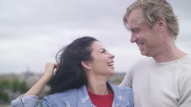 happy moments of an adult couple - coppia di adulti di mezza età video stock e b–roll