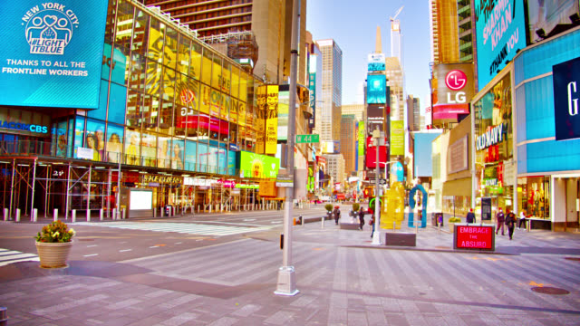 happy morning times square at spring during lockdown in wait restart life and economic - times square manhattan stock videos & royalty-free footage