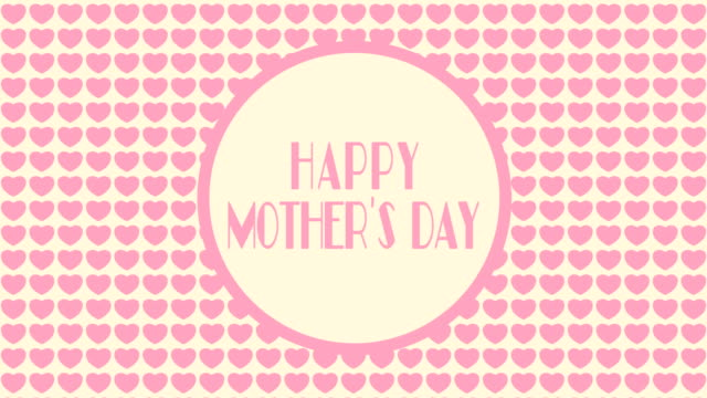 4k happy mother's day animation - pink background  loopable - mother's day stock videos & royalty-free footage