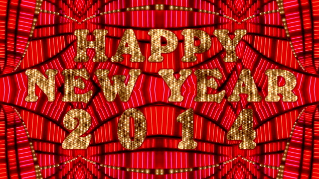 stockvideo's en b-roll-footage met happy new year 2014 marquee - incandescent bulb