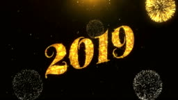 Happy new year 2019 Greeting Card text Reveal from Golden Firework & Crackers on Glitter Shiny Magic Particles Sparks Night for Celebration, Wishes, Events, Message, holiday, festival