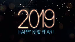 Happy New Year 2019 Text animation with lights and sparkle bokeh