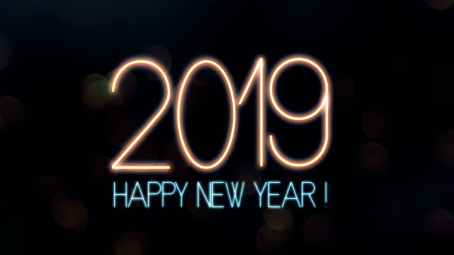 happy new year 2019 text animation with lights and sparkle bokeh - 2019 stock videos and b-roll footage