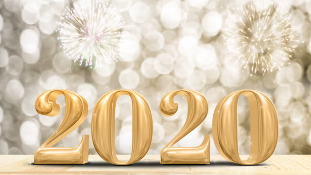 happy new year 2020 gold glossy with fireworks on modern wood table and leg with sparkling gold bokeh wall,holiday celebration concept - new year's eve stock videos & royalty-free footage