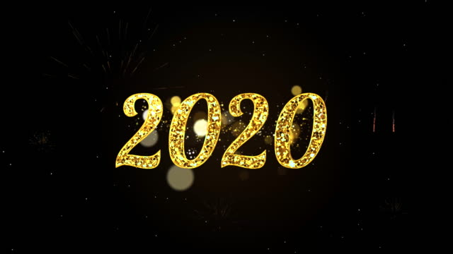 4k happy new year 2020, text card and bright magic particles sparks for night celebration, wishes, events, message, holiday, festival - new year card stock videos & royalty-free footage