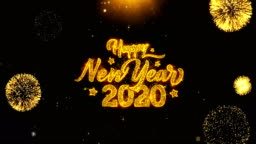 Happy New Year 2020  Wishes Greetings card, Invitation, Celebration Firework Looped