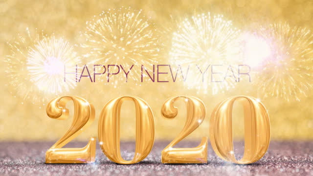 happy new year 2020 year with firework at sparkling golden and red copper glitter floor studio background ,holiday celebration greeting card - new year's eve stock videos and b-roll footage
