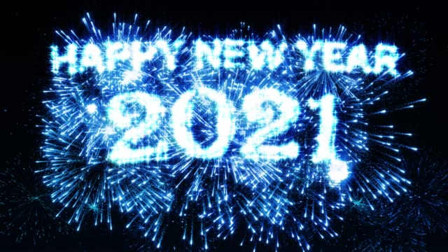 happy new year 2021 fireworks display blue color - new year's eve stock videos & royalty-free footage