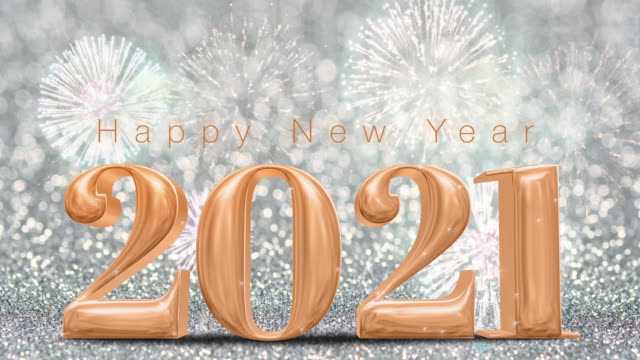 happy new year 2021 rose gold with fireworks on sparkling silver glitter bokeh wall,holiday celebration concept - new year's eve stock videos & royalty-free footage
