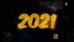 Happy New Year 2021 Text Wishes Reveal From Firework Particles Greeting card.