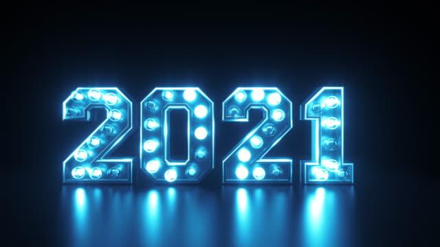 frohes neues jahr 2021 mit blinkenden lichtern in blau - new stock-videos und b-roll-filmmaterial