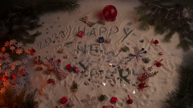 happy new year 2021 written on the artificial snow with christmas decorations around - talcum powder stock videos & royalty-free footage