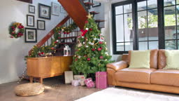 Happy new year and merry Christmas, Decorated Christmas Tree in Living room, New Year Concept and Christmas Background concept