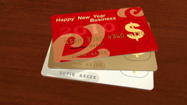 happy new year - credit card - three objects stock videos & royalty-free footage