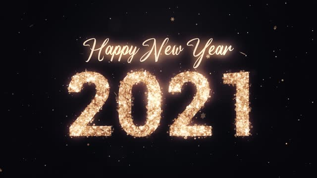 2021 happy new year. gold glitter on dark background. loopable - new year's eve stock videos & royalty-free footage