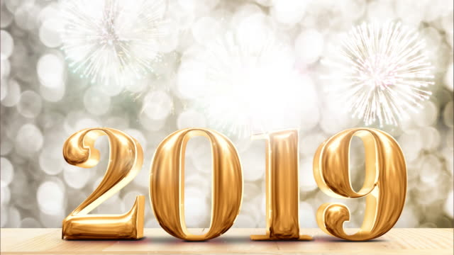 happy new year gold glossy with fireworks on modern wood table and leg with sparkling gold bokeh wall,holiday celebration concept - 2019 stock videos and b-roll footage