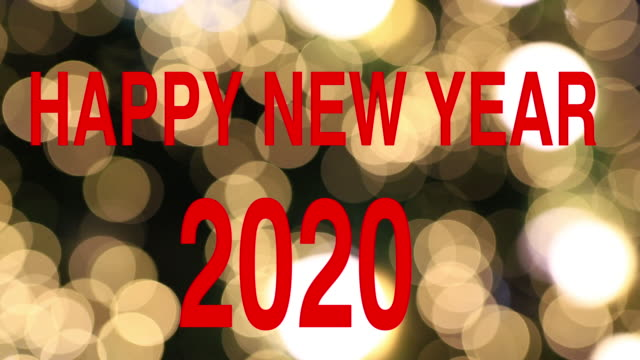 happy new year greeting card text reveal from golden firework & crackers on glitter shiny magic particles sparks night for celebration, wishes, events, message, holiday, festival - new year card stock videos & royalty-free footage