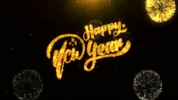 Happy New Year Greeting Card text Reveal from Golden Firework & Crackers on Glitter Shiny Magic Particles Sparks Night for Celebration, Wishes, Events, Message, holiday, festival