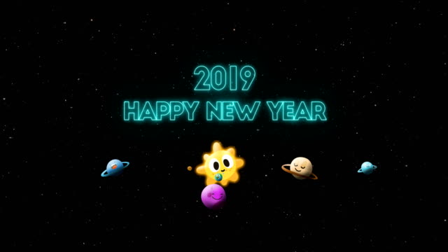 happy new year in cartoon space - 2019 stock videos and b-roll footage