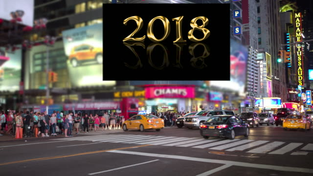 happy new year sign 2018 celebration nyc crowd times square stock footage video getty images