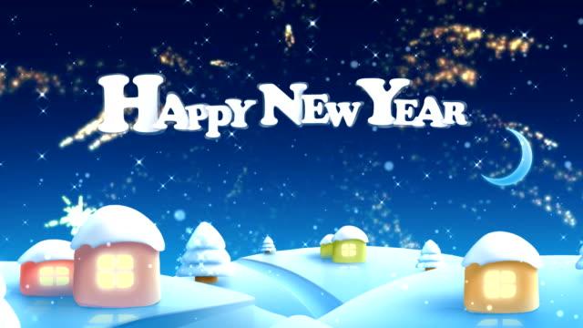 vidéos et rushes de joyeux nouvel année - neige fraîche