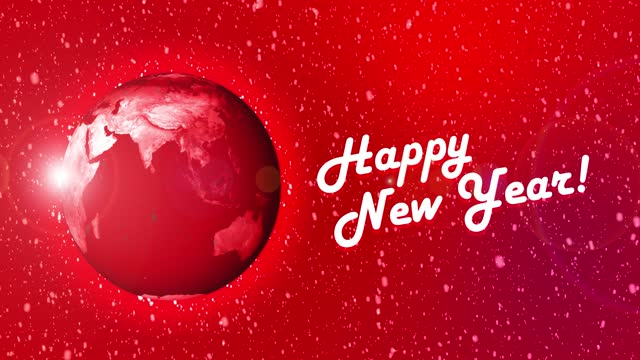 happy new year world on red background with snowing. christmas stock video - new year card stock videos & royalty-free footage