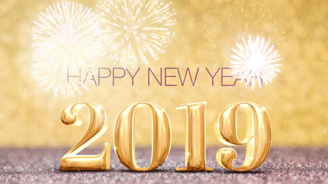 happy new year year with firework at sparkling golden and red copper glitter floor studio background ,holiday celebration greeting card - new year card stock videos & royalty-free footage