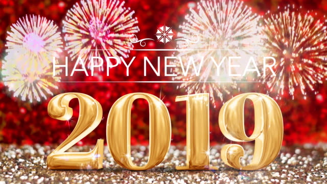happy new year year with firework at sparkling golden and red copper glitter floor studio background ,holiday celebration greeting card - 2019 stock videos and b-roll footage